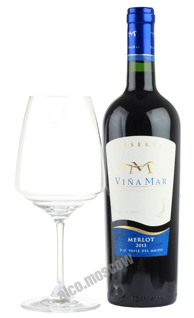 Vina del Mar de Casablanca  Vina del Mar de Casablanca Reserva Merlot 2013 чилийское вино Винья Мар Резерва Мерло 2013