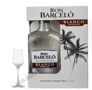 Rum Barcelo Blanco White Ром Барсело Бланко белый в п/у со стаканом