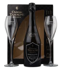 Chateau Tamagne Reserve with 2 wineglasses Российское шампанское Шато Тамань Резерв + 2 бокала