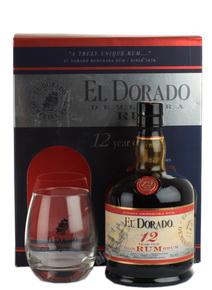 El Dorado Ром Эль Дорадо 12 лет с двумя бокалами