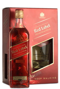 Johnnie Walker Red Label 0,7 л + стакан в п/у шотландский виски Джонни Уокер Ред Лейбл 0,7л + стакан в п/у